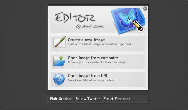 Pixlr opening screen