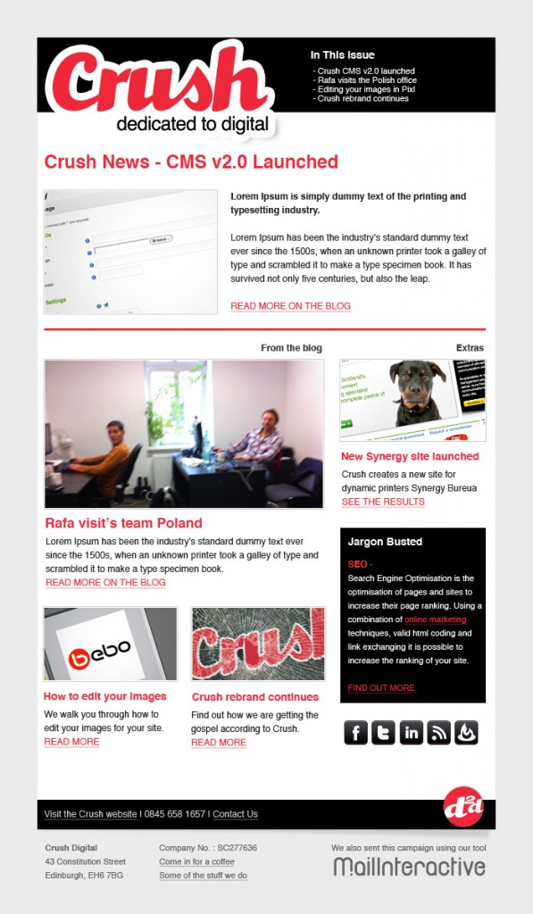 Crush Email Newsletter